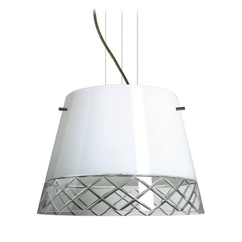 Besa Lighting Modern Drum Pendant Light with White Glass in Bronze Finish 1KV-4340WC-BR