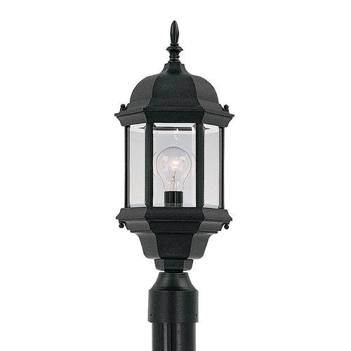 Designers Fountain Lighting Post Light with Clear Glass in Black Finish 2976-BK