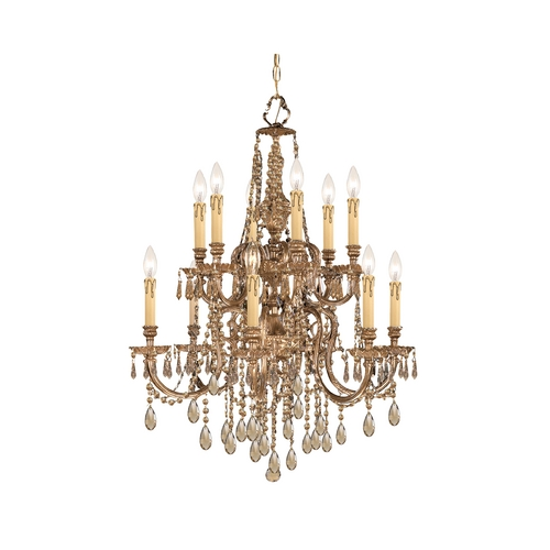 Crystorama Lighting Crystal Chandelier in Olde Brass Finish 2812-OB-GT-MWP