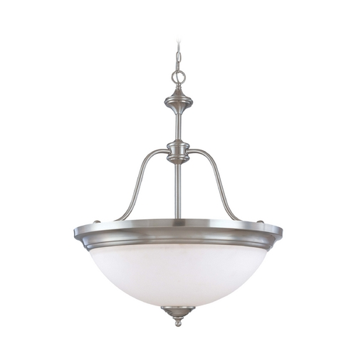 Nuvo Lighting Pendant Light with White Glass in Brushed Nickel Finish 60/1808