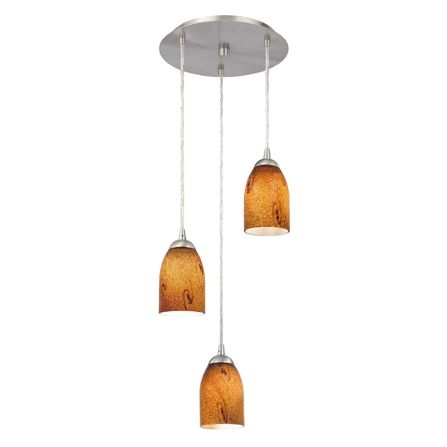 Design Classics Lighting Modern Multi-Light Pendant Light with Brown Art Glass and 3-Lights 583-09 GL1001D