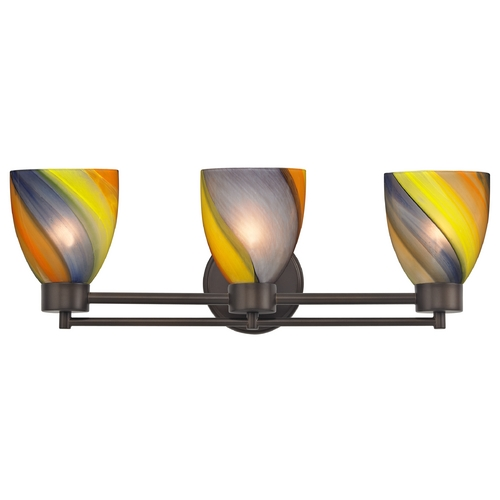 Design Classics Lighting Modern Bathroom Light with Art Glass in Neuvelle Bronze Finish 703-220 GL1015MB