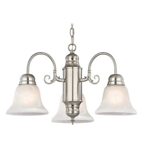 Design Classics Lighting Mini-Chandelier with Alabaster Glass in Satin Nickel Finish 708-09 GL1032-ALB
