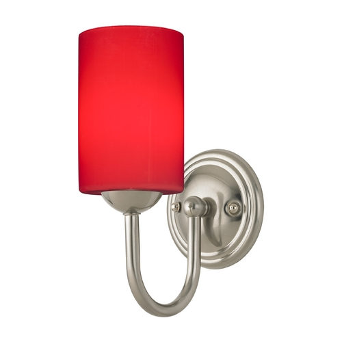 Design Classics Lighting Sconce with Red Art Glass in Satin Nickel Finish 593-09 GL1008C