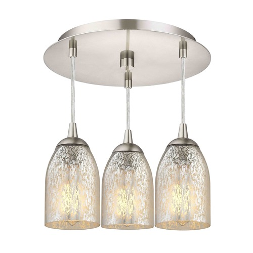 Design Classics Lighting 3-Light Semi-Flush Ceiling Light with Mercury Dome Glass - Nickel Finish 579-09 GL1039D