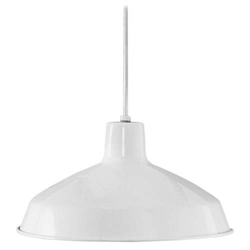 Progress Lighting Progress Warehouse Industrial White Pendant Light with Metal Shade P5094-30