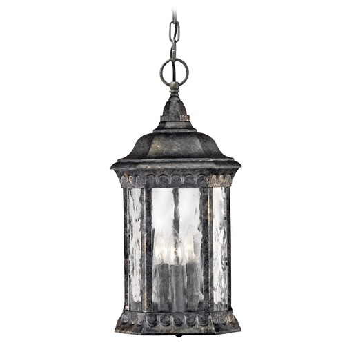 Hinkley Lighting Outdoor Hanging Light with Clear Glass in Black Granite Finish 1722BG