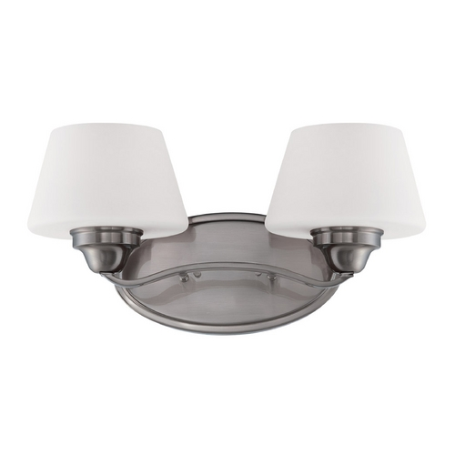 Nuvo Lighting Bathroom Light with White Glass in Brushed Nickel Finish 60/5222