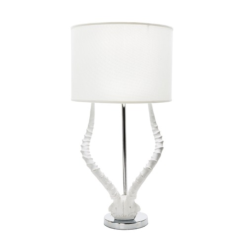 Dimond Lighting White Faux Horn Lamp With White Shade 225091