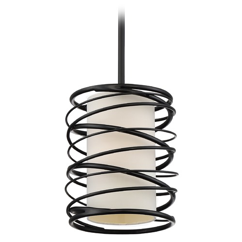 Quoizel Lighting Quoizel Lighting Spiral Mystic Black Mini-Pendant Light with Cylindrical Shade SPL1508K