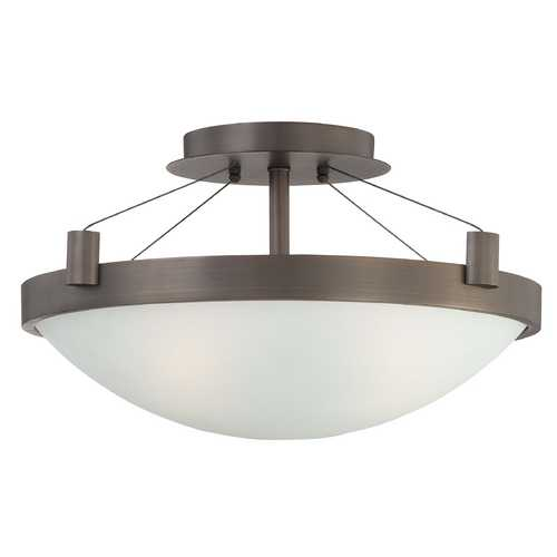 George Kovacs Lighting Modern Semi-Flushmount Light with White Glass in Copper Bronze Patina Finish P591-647