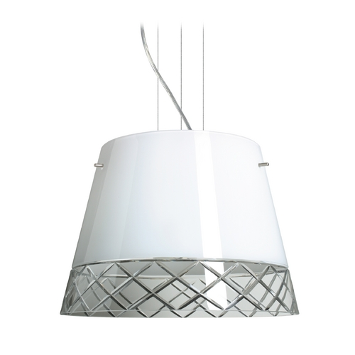 Besa Lighting Modern Drum Pendant Light with White Glass in Satin Nickel Finish 1KV-4340WC-SN
