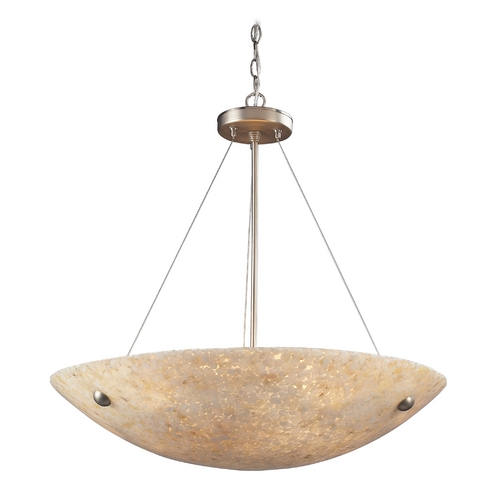 Elk Lighting Modern Pendant Light with Beige / Cream Glass in Satin Nickel Finish 8887/6