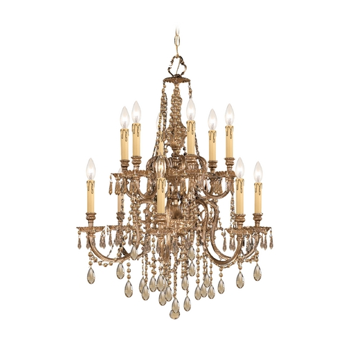 Crystorama Lighting Crystal Chandelier in Olde Brass Finish 2812-OB-GTS