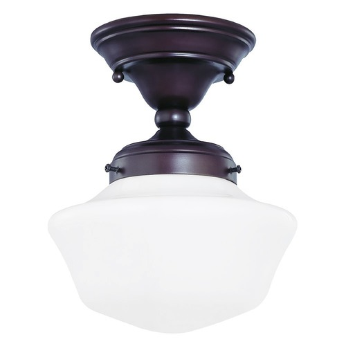 Design Classics Lighting 8-Inch Schoolhouse Semi-Flushmount Ceiling Light in Bronze Finish FAS-220 / GA8