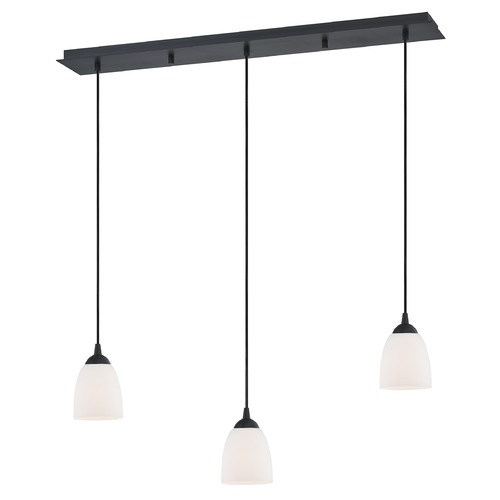 Design Classics Lighting 36-Inch Linear Pendant with 3-Lights in Matte Black Finish with Satin White Glass 5833-07 GL1028MB