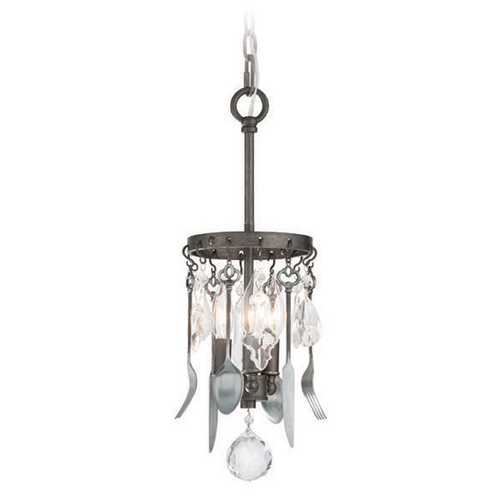 Troy Lighting Troy Lighting Bistro Graphite with Antique Pewter Flatware Mini-Pendant Light F3803