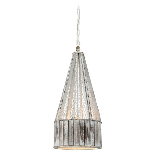 Dimond Lighting Dimond Pennant Point Washed Wood Pendant Light with Drum Shade D3106