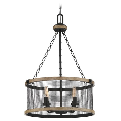 Quoizel Lighting Quoizel Lighting Mccrady Matte Black with Painted Wood Accents Pendant Light with Drum Shade MCY2818MBK