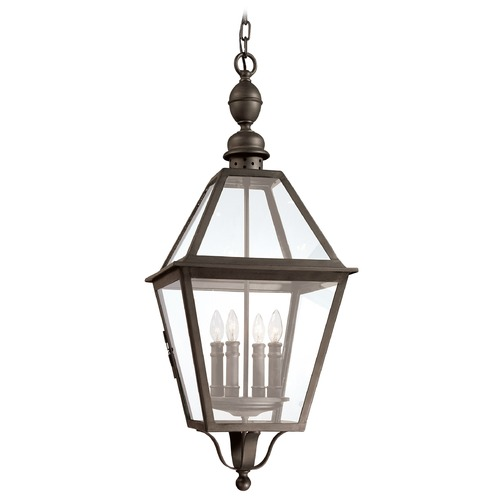 Troy Lighting Outdoor Hanging Light with Clear Glass in Natural Bronze Finish F9628NB