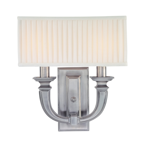 Hudson Valley Lighting Sconce Wall Light with White Shades in Historic Nickel Finish 542-HN