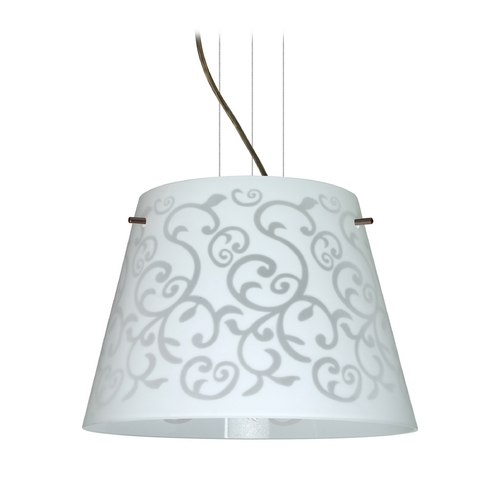 Besa Lighting Modern Drum Pendant Light White Glass Bronze by Besa Lighting 1KV-4340WD-BR