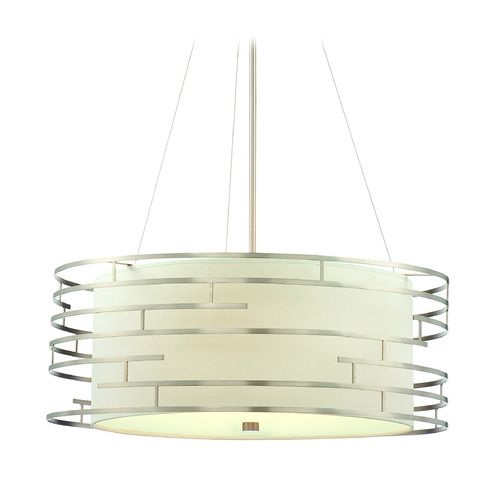Philips Lighting Modern Drum Pendant Light with White Glass in Satin Nickel Finish 190215836