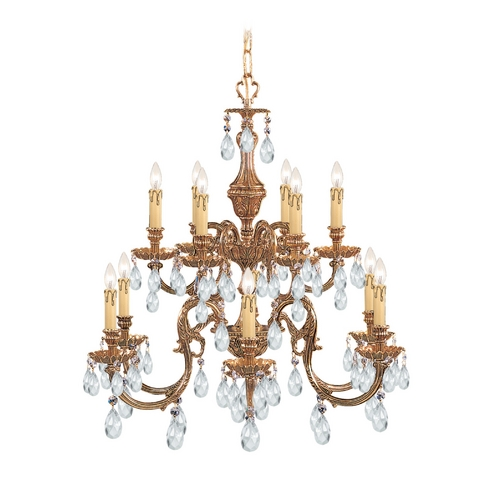 Crystorama Lighting Crystal Chandelier in Olde Brass Finish 2912-OB-CL-MWP
