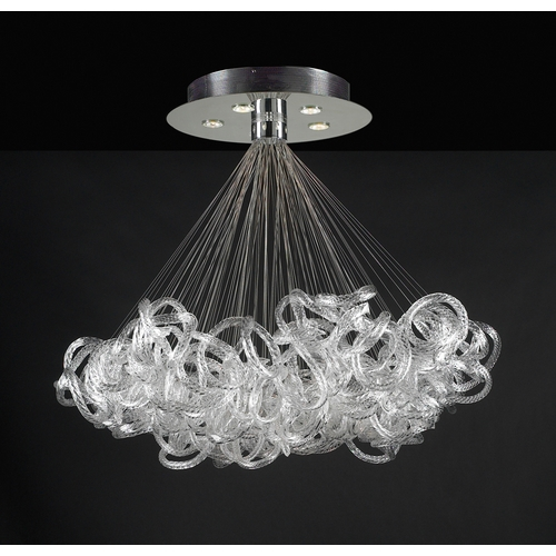 PLC Lighting Modern Pendant Light with Clear Glass in Polished Chrome Finish 96979 PC