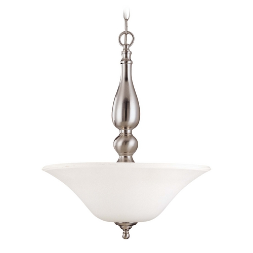 Nuvo Lighting Pendant Light with White Glass in Brushed Nickel Finish 60/1828