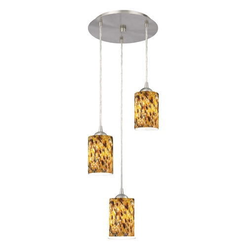 Design Classics Lighting Design Classics Gala Fuse Satin Nickel Multi-Light Pendant with Cylindrical Shade 583-09 GL1005C
