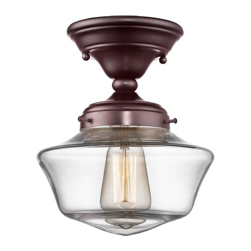Design Classics Lighting 8-Inch Clear Glass Schoolhouse Semi-Flush Ceiling Light in Bronze Finish FAS-220 / GA8-CL