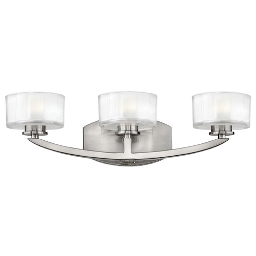 Hinkley Lighting Bathroom Light with White Glass in Brushed Nickel Finish 5593BN