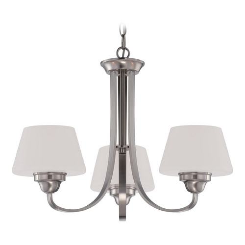 Nuvo Lighting Chandelier with White Glass in Brushed Nickel Finish 60/5224