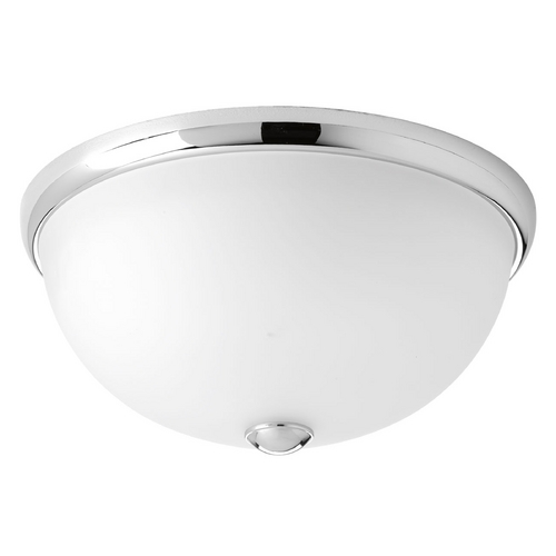 Progress Lighting Modern Flushmount Light with White Glass in Polished Chrome Finish P3642-15WB