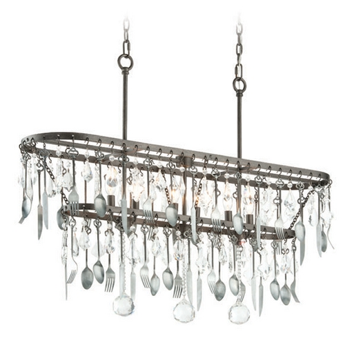 Troy Lighting Troy Lighting Bistro Graphite with Antique Pewter Flatware Island Light F3804