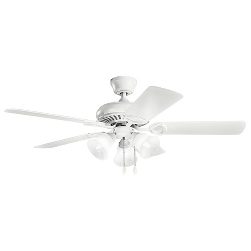 Kichler Lighting Kichler Lighting Sutter Place Select Matte White Ceiling Fan with Light 339400MWH