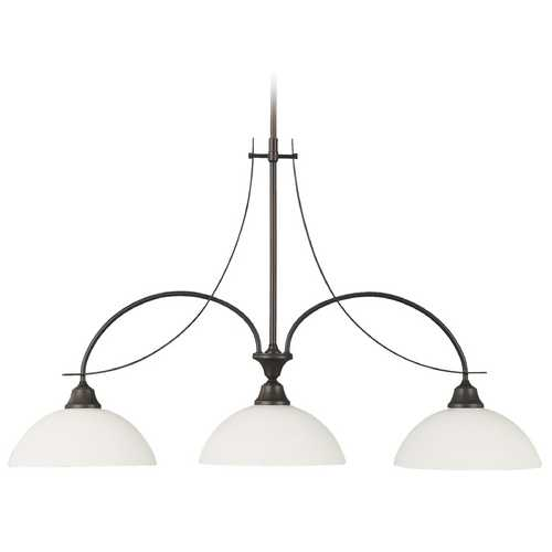 Feiss Lighting Modern Island Light with White Glass in Oil Rubbed Bronze Finish F1886/3ORB