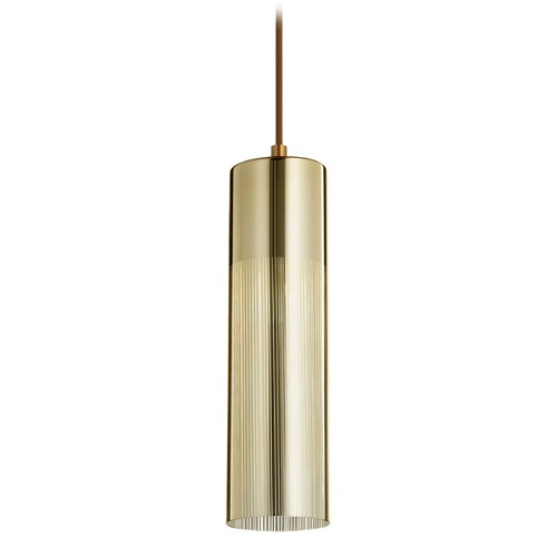 Quorum Lighting Quorum Lighting Aged Brass Mini-Pendant Light with Cylindrical Shade 837-0280