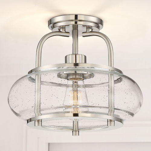 Quoizel Lighting Seeded Glass LED Semi-Flushmount Light Brushed Nickel Quoizel Lighting TRG1712BN