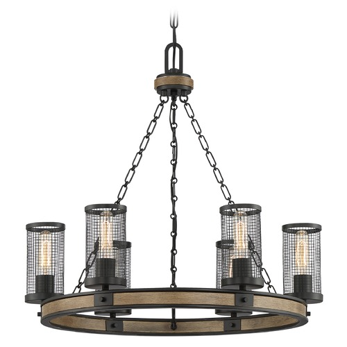 Quoizel Lighting Quoizel Lighting Mccrady Matte Black with Painted Wood Accents Chandelier MCY5026MBK
