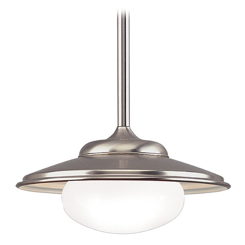 Hudson Valley Lighting Pendant Light with White Glass in Satin Nickel Finish 9119-SN