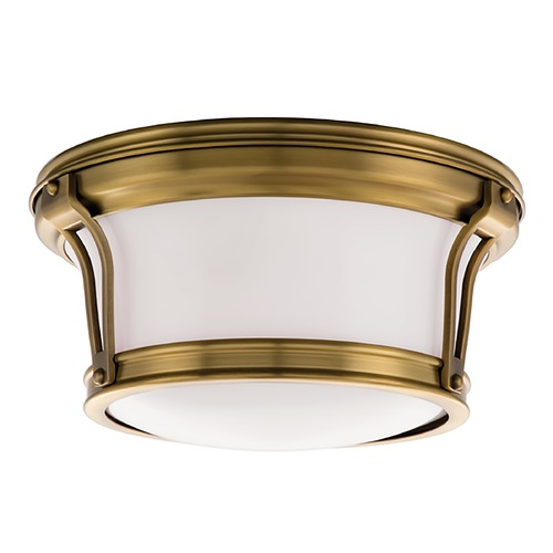 Hudson Valley Lighting Flushmount Light with White Glass in Aged Brass Finish 6510-AGB