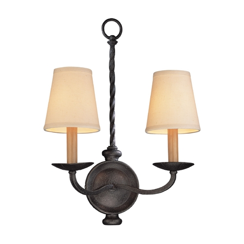 Troy Lighting Sconce Wall Light with Beige / Cream Shades in English Iron Finish B2661