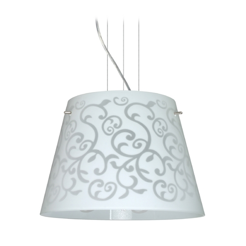 Besa Lighting Modern Drum Pendant Light White Glass Satin Nickel by Besa Lighting 1KV-4340WD-SN