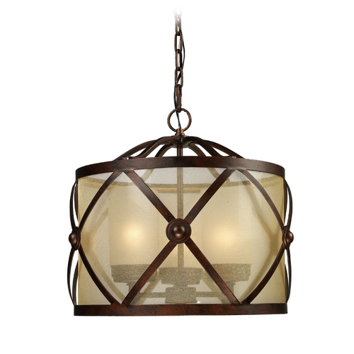 Elk Lighting Drum Pendant Light with Amber Glass in Classic Bronze Finish 14051/3