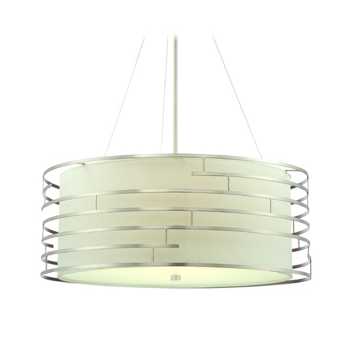 Philips Lighting Modern Drum Pendant Light with White Glass in Satin Nickel Finish 190216836