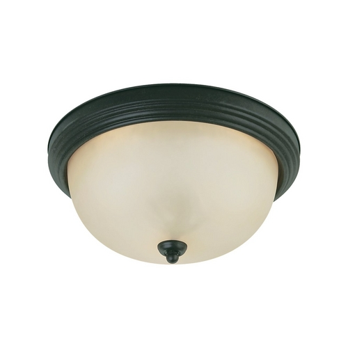 Sea Gull Lighting Flushmount Light with Beige / Cream Glass in Chestnut Bronze Finish 77164-820