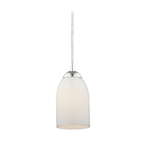 Design Classics Lighting Chrome Mini-Pendant Light with Opal White Glass 582-26 GL1024D