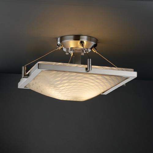 Justice Design Group Justice Design Group Fusion Collection Semi-Flushmount Light FSN-9780-25-WEVE-NCKL